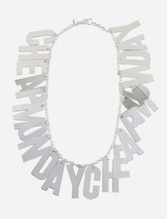 The Cheap Monday Letter Necklace pits grunge rock with rocker chic to create a wonderfully eye-catching statement piece. The completely nickel-free necklace is built with large block letters paired with a thin chain. http://www.zocko.com/z/JFE5A