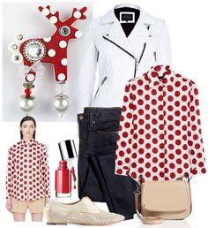 Jelínek Bibi ví, že puntík je základ každého šatníku. Polyvore, Outfits, Fashion, Moda, Suits, Fashion Styles, Fashion Illustrations, Kleding, Outfit