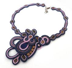 Statement navy blue pale pink necklace soutache OOAK by sutaszula