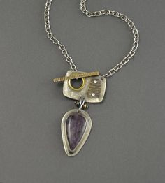 Purple Charoite Toggle Pendant front clasp necklace silver