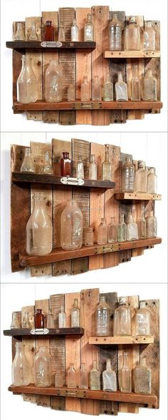 Some people think that the shelves are not for the rooms and they only look good when used in the kitchen, which is not true. This idea of creating the wood pallets rustic and vintage shelf is perfect for…. Pallet Patio Furniture, Reclaimed Wood Furniture, Furniture Projects, Rustic Furniture, Garden Furniture, Pallet Sofa, Woodworking Furniture, Antique Furniture, Wood Sofa