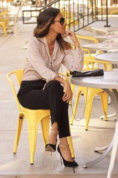 silk tie blouse + velvet ankle strap pumps | Skirt the Ceiling | skirttheceiling.com