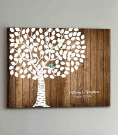 100 Guest CANVAS Wedding Guest Book Canvas Wood by ThePrintCafe