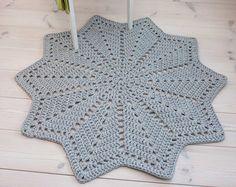 Rotondo grigio uncinetto cotone Centrino tappeto di ForHomeAndSoul