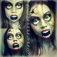Creepy Monster Makeup is among the exact scary masks. It is possible to apply any scary makeup qualities you want to experience that would increase the spookiness of the costume you're wearing. It's very easy to make your own Halloween… Continue Reading → Looks Halloween, Halloween 2014, Holidays Halloween, Scary Halloween, Halloween Costumes, Halloween Face Makeup, Creepy Doll Makeup, Halloween Halloween, Vintage Halloween