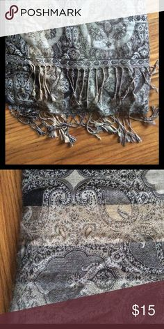 Beautiful Paisley Pashmina Authentic pashmina with beautiful paisley print in black, gray, and gold. Large enough to be used as a wrap. Accessories Scarves & Wraps