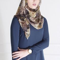 INAYAH | Brown Tone Floral Hijab + Teal Structured Abaya www.inayahcollection.com