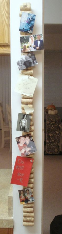 @Cathy Ma Hess I know you'll like this! Put corks on a yard stick and you get a vertical cork board.