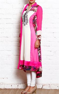 Impressive Pink and White Ready Made Salwar Kameez