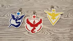 Pokemon Go Team, Key chain, Key fob, Zipper Pull, Snap tab, Embroidery, Valor…