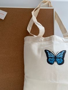 Summer Tote Bags, Diy Tote Bag, Cute Tote Bags, Tods Bag, Fabric Bags, Blue Butterfly, Cotton Tote Bags, Canvas Tote Bags, Totes