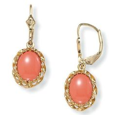 PalmBeach Jewelry Oval-Shaped Simulated Coral Drop 14k Yellow Gold-Plated Earrings Palm Beach Jewelry. $29.99. Save 44%!
