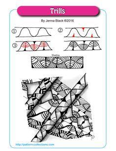 Trills Tangle, Zentangle Pattern by Jenna Black Zentangle Drawings, Doodles Zentangles, Doodle Drawings, Doodle Art, Zen Doodle, 3d Drawings, Doodle Patterns, Zentangle Patterns, Line Patterns