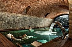 Spa at Hotel Barcelona Indoor Pools, Spa Design, House Design, Piscina Spa, Underground Pool, Cave Pool, Basement Pool, Barcelona Hotels, Barcelona Spain