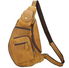 Sling Bags for Men Chest Pack Leather Sling Bags - Canvas Bag Leather Bag CanvasBag.Co Designer Inspired Handbags, Cheap Designer Handbags, Cheap Handbags, Sling Bags, Sling Backpack, Cowhide Leather, Leather Bag, Laptop Bag, Fashion Backpack
