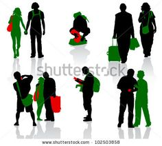 Silhouettes of tourists in different situation. - stock vector
