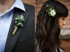 eucalyptus wax flower twine wrap boutonniere white ranunculus wax flower hair clip utah wedding flowers calie rose