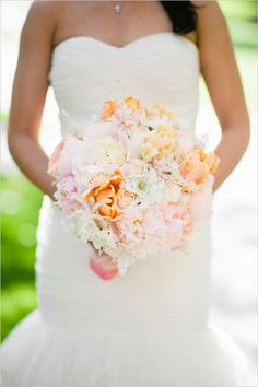 Peach, pink and white bouquet by Green Leaf Designs via The Wedding Chicks, image by Christine Choi