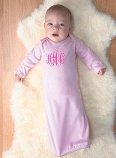 Monogram Baby Sleeper with elastic bottom and hand covers  | TwoFunnyGirls.com