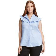 61ba431a0b0 Plus Size Casual Sleeveless Blouse Ruffled Blouse Big Size Shirt Pli