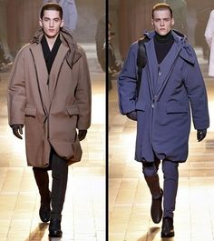 Ironically, as mens suits become more tailored and form flattering, we are seeing a very obvious move towards oversized and boxy mens jackets and coats. Lanvin Fall/Winter Men's Show Lanvin, Mens Suits, Men's Style, Raincoat, Fall Winter, Menswear, Coats, Style Inspiration, Mens Fashion