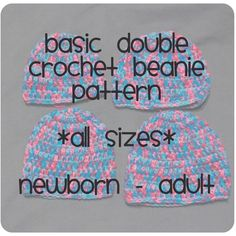Basic Double Crochet Beanie, All Sizes - via @Craftsy