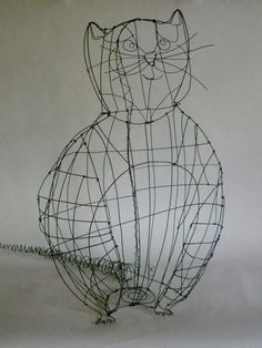 """cool cat"" by French wire artist Claire Rougerie. via his workshop's site, De Beaux Souvenirs"