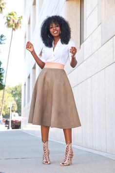 Button-Down Shirt + Quilted Midi Skirt