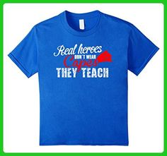 Kids Real heroes don't wear capes, they teach - Teacher Tee 6 Royal Blue - Careers professions shirts (*Amazon Partner-Link)
