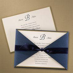 Off Elegant Wedding Invitations, Holiday Cards, Greeting Cards, Birth Announcements and Fine Stationery – All about saving you money without losing elegance or attitude. Elegant Wedding Invitations, Gold Wedding Invitations, Wedding Stationery, Wedding Cards, Fine Stationery, Invitation Cards, Invitation Ideas, Holiday Cards, Navy Ribbon