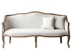 The Simple flair of Provencal ~ Oak framed Settee!  Ck. out One Kings Lane.com !!!