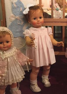 Pictured here are kissy and saucy walker, both dolls were made by ideal in the early Old Dolls, Antique Dolls, Vintage Dolls, Baby Girl Dolls, Baby Doll Clothes, Ideal Toys, Vinyl Dolls, Dollhouse Dolls, Fairy Dolls