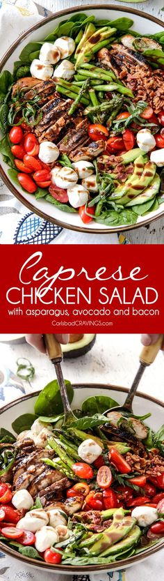 MB***: Grilled Caprese Chicken Salad with the most incredible balsamic marinated chicken, fresh tomatoes, creamy mozzarella, grilled asparagus, creamy avocado and crispy bacon all drizzled with Creamy Balsamic Reduction Dressing. Poulet Caprese, Caprese Chicken, Chicken Salad Recipes, Marinated Chicken, Marinated Tomatoes, Avocado Chicken, Salad With Grilled Chicken, Chicken Salads, Chicken Meals