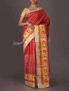 Garima Hand-Embroidered Chikankari Style Wedding #TussarSilkSaree