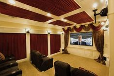 Best 15 Home Theater Design Ideas I love the traditional theatre curtains in this movie room. Other good ideas in fifteen other home theater designs.