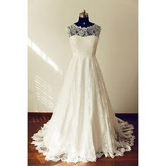 A-line+Wedding+Dress+-+Ivory+Sweep/Brush+Train+Jewel+Lace+–+USD+$+151.99