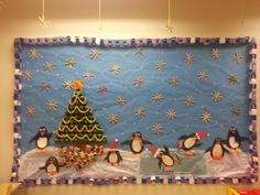 Our winter wonderland class bullitin board made 95% by students in our special needs classroom!  Boarder: paper chain links; tree: old egg cartons, painted and glittered, Cheerios garland, math manipulatives for lights, pipe cleaner candy canes; star: card stock, tissue paper, food coloring, corn syrup; snow/ice rink: tissue paper and Saran Wrap over the ice to make shiny; snow flakes: craft sticks and glitter; penguins: paper shapes, pipe cleaner for skates, cotton balls for Santa hats. Presents: cardboard lunch trays and wrapping paper.  Our kids r amazing, ms lacy is very creative