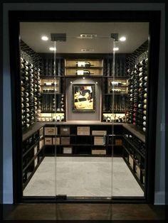 Wine cellar projects are a testament to artistic talent, especially when it comes to racking design.We bring you today some must-try wine racking combos! Wine Cellar Modern, Glass Wine Cellar, Home Wine Cellars, Wine Cellar Design, Wine Cellar Basement, Bar A Vin, Home Bar Designs, Wine Wall, Wine Fridge