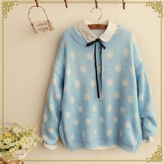 Japanese sweet dots knit sweater