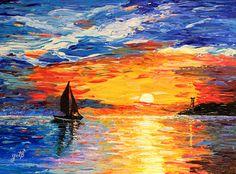 """Saatchi Online Artist Georgeta Blanaru; Painting, """"Romantic Sea Sunset acrylic palette knife painting"""" #art"""
