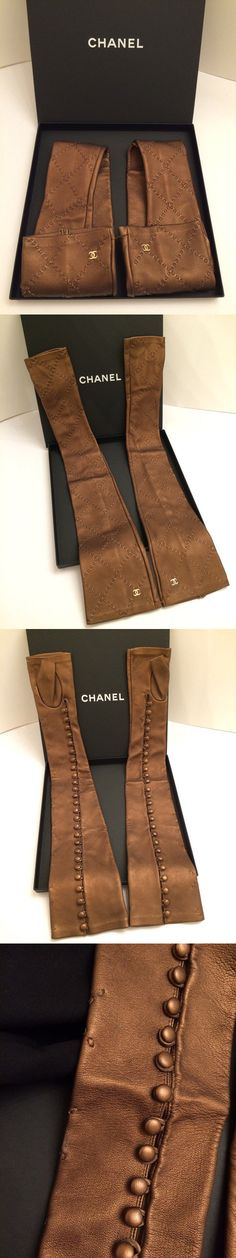 Gloves and Mittens 105559: Chanel Leather Gloves Bronze Metallic Color Long Gloves Size 7 -> BUY IT NOW ONLY: $399 on eBay!