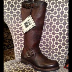 """FRYE SLOUCH BOOT Dark brown leather upper knee boot. Adjustable I step and top straps with FRYE logo hardware. Leather lining. Rubber traction sole. 1"""" stacked heel with rubber tap. Foam midsole. 1.5"""" heel. 14"""" circumference. 14"""" circumference. 14"""" shaft. NO TEADES. NO MODELING. Frye Shoes"""