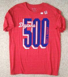 DAYTONA 500 T-SHIRT Retro-Vtg-Look Heather-Red Blue & White Nascar MENS LARGE