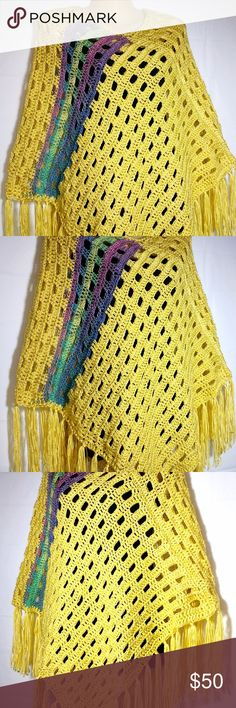 """Womens Poncho Sweater Boho Hippie Yellow Crochet Yellow Multi Women's Poncho Sweater Boho Hippie Soft Crocheted Fringed XS S M L XL One of a kind handmade by me crochet yellow multi-colored soft poncho.  Light to medium weight, soft acrylic yarns.  Made to be and look airy.  Has 6"""" fringe all the way around the bottom.  One size fits most x-small to x-large.  May be machine washed gentle cycle and laid flat to dry. Black cami underneath not included. Crafted in a smoke free home. #0117BA…"""