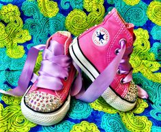 Toddler Hi-Top Pink Converse With Swarovski Rhinestones. Exclusively at UrbanBabyCo.com
