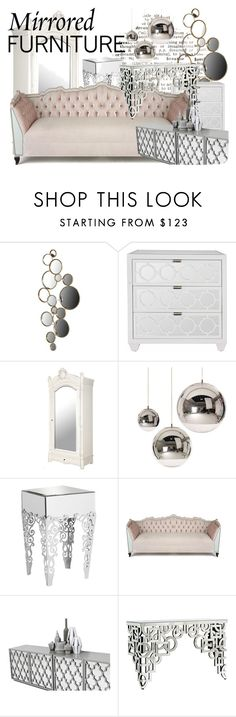 """""""Mirrored Furniture!!!!"""" by teatime-in-mist ❤ liked on Polyvore featuring interior, interiors, interior design, home, home decor, interior decorating, WALL, Tom Dixon, Universal Lighting and Decor and Haute House"""