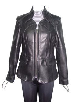 Paccilo XL 5003 Womens Black Leather Hooded Coat Fox Fur Trim The ...
