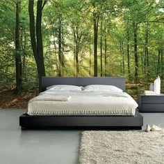 Groen bos fotobehang slaapkamer