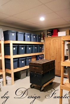 how do you store your stuff, shelving ideas, storage ideas, woodworking projects, This is what your storage room could look like with easy to make and inexpensive shelves home improvement hacks Basement Storage Shelves, Shed Storage, Garage Storage, Storage Room, Easy Storage, Storage Ideas, Storage Shelving, Tote Storage, Diy Garage