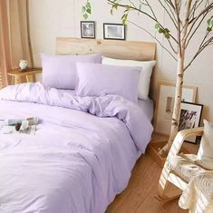 This luxurious and elegant look lavender purple duvet cover set handmade in…